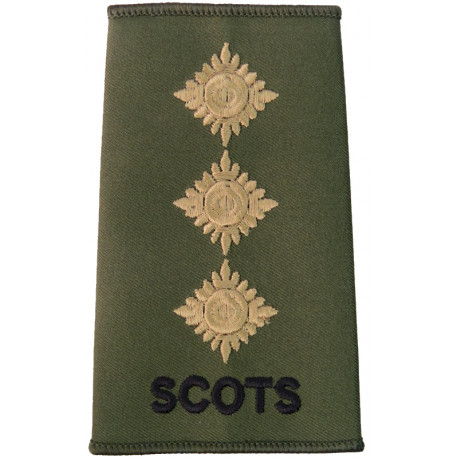 Scots Captain (Royal Regiment Of Scotland) Olive Rank Slide  Embroidered Officer rank badge
