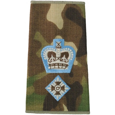 Parachute Regiment Lieutenant Colonel -Sky Blue Edge MTP Camo Rank Slide with Queen Elizabeth's Crown. Embroidered Officer rank