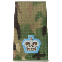 Parachute Regiment Major - Sky Blue Border MTP Camo Rank Slide with Queen Elizabeth's Crown. Embroidered Officer rank badge