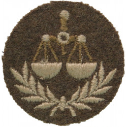 Canada: Accounting Level 2: Weighing Scales / Wreath Brown On Khaki Disc  Embroidered Army cloth trade badge