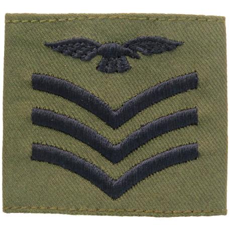 Sergeant Aircrew - Eagle FR - Slip-On Rank Badge Black On Olive  Woven Air Force Rank Badge