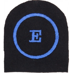 WRNS Educational Assistant (E In Circle) Trade: Blue On Navy with Queen Elizabeth's Crown. Embroidered Naval Branch, rank or mis