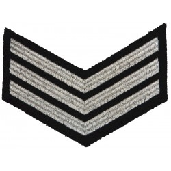 Police Sergeant Female Chevrons - Wide Braid - Small Silver On Black  Lurex UK Police or Prison insignia