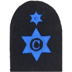 WRNS Cook (C In 6-Pointed Star) + 1 Star Trade: Blue On Navy  Embroidered Naval Branch, rank or miscellaneous insignia