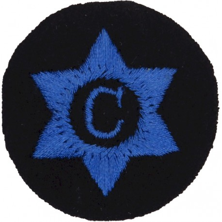 WRNS Cook (C In 6-Pointed Star) Trade: Blue On Navy  Embroidered Naval Branch, rank or miscellaneous insignia