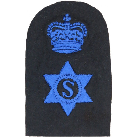 WRNS Steward (S In 6-Pointed Star) + Crown Trade: Blue On Navy with Queen Elizabeth's Crown. Embroidered Naval Branch, rank or m