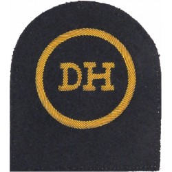 Dental Hygienist (DH In Circle) Trade - Gold On Navy  Bullion wire-embroidered Naval Branch, rank or miscellaneous insignia