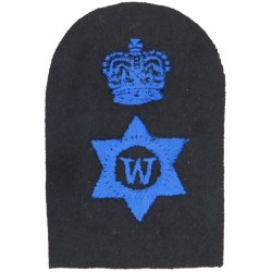WRNS Writer (W In 6-Pointed Star) + Crown Trade: Blue On Navy with Queen Elizabeth's Crown. Embroidered Naval Branch, rank or mi
