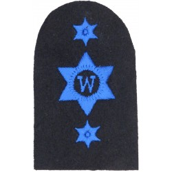 WRNS Writer (W In 6-Pointed Star) + 2 Stars Trade: Blue On Navy  Embroidered Naval Branch, rank or miscellaneous insignia
