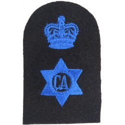 WRNS Caterer (CA In 6-Pointed Star) + Crown Trade: Blue On Navy with Queen Elizabeth's Crown. Embroidered Naval Branch, rank or