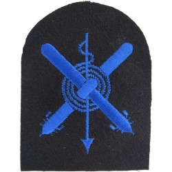 WRNS Crossed Torpedoes; Harpoon; Rope Trade: Blue On Navy  Embroidered Naval Branch, rank or miscellaneous insignia