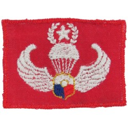 Philippines Constabulary Master Parachute Wings On Red  Embroidered Parachute jump wings or badge