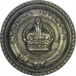 Malta Police (Words On Belt Around KC) 19mm - Roped Rim with King's Crown. White Metal Police or Prisons uniform button
