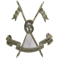 6th Duke Of Connaught's Own Lancers (Watson's Horse) 1922-40 With Scroll  White Metal Officers' metal cap badge