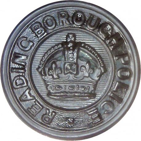 Reading Borough Police - Black 24mm - Pre-1952 with King's Crown. Horn Police or Prisons uniform button