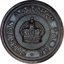 Preston Borough Police - Black 24mm - Pre-1952 with King's Crown. Horn Police or Prisons uniform button