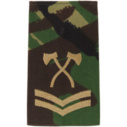 Assault Pioneer Corporal (Crossed Axes) Brown On DPM Camo  Embroidered NCO or Officer Cadet rank badge