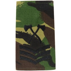 Assault Pioneer Sergeant (Crossed Axes) Black On DPM Camo  Embroidered NCO or Officer Cadet rank badge
