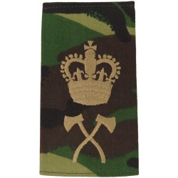 Pioneer WO2 (Crown Over Crossed Axes) Brown On DPM Camo with Queen Elizabeth's Crown. Embroidered Warrant Officer rank badge