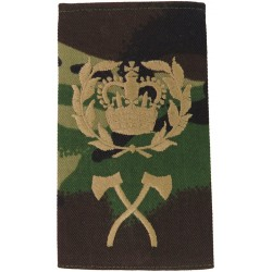 Pioneer WO2 (RQMS) (Wreathed Crown / Crossed Axes) Brown On DPM Camo with Queen Elizabeth's Crown. Embroidered Warrant Officer r