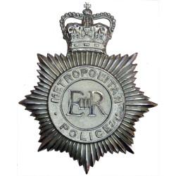 Metropolitan Police (London) With Separate EiiR Helmet Star with Queen Elizabeth's Crown. Chrome-plated Police or Prisons hat ba