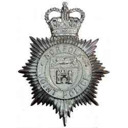 Norfolk Joint Police - Shield Centre Helmet Star 1968-74 with Queen Elizabeth's Crown. Chrome-plated Police or Prisons hat badge