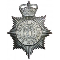 Birmingham City Police - Coat Of Arms Centre Helmet Star Pre-1974 with Queen Elizabeth's Crown. Chrome-plated Police or Prisons