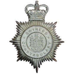 Gwynedd Constabulary Helmet Star with Queen Elizabeth's Crown. Chrome-plated Police or Prisons hat badge