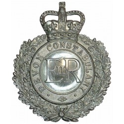 Devon Constabulary - EiiR Centre - Pre-1966 Helmet Plate -Wreath with Queen Elizabeth's Crown. Chrome-plated Police or Prisons h