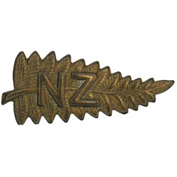 New Zealand Staff Corps (Fern Leaf - Stalk To Left) 41mm Wide  Brass Other Ranks' collar badge