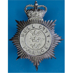 Hull City Police - Coat Of Arms Centre Helmet Star 1952-74 with Queen Elizabeth's Crown. Chrome-plated Police or Prisons hat bad