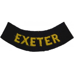 Exeter (Curved Chest Title) Yellow On Dark Blue  Embroidered Civil Defence