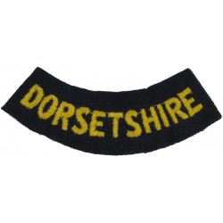 Dorsetshire (Curved Chest Title) Yellow On Dark Blue  Embroidered Civil Defence