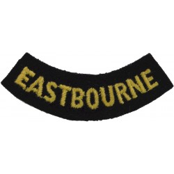 Eastbourne (Curved Chest Title) Yellow On Dark Blue  Embroidered Civil Defence