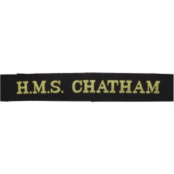 HMS Chatham (Type 22 Frigate) Cap-Tally 1988-2011  Woven Naval cap badge or cap tally