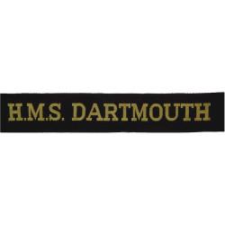 HMS Dartmouth (Britannia Royal Naval College) Cap-Tally  Woven Naval cap badge or cap tally