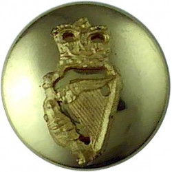 Irish Guards - Officers' Quality 14mm Mounted Dome with Queen Elizabeth's Crown. Gilt Military uniform button