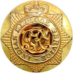 Indian Medical Service - GRI - GvR - 1911-1936 15.5mm Mounted Dome with King's Crown. Gilt Military uniform button