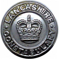 Lancashire Constabulary 24mm - Post-1952 with Queen Elizabeth's Crown. Chrome-plated Police or Prisons uniform button