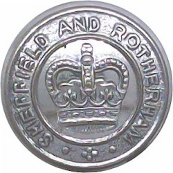 Sheffield And Rotherham Police 17.5mm - 1967-1974 with Queen Elizabeth's Crown. Chrome-plated Police or Prisons uniform button