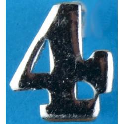 Police Shoulder / Collar Number 4   Chrome-plated UK Police or Prison insignia