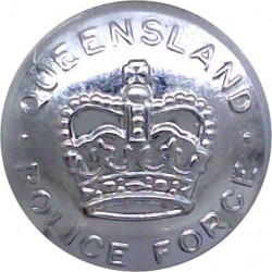 Australia: Queensland Police Force 20.5mm with Queen Elizabeth's Crown. Chrome-plated Police or Prisons uniform button