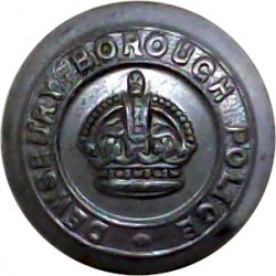 Huddersfield County Borough Police - Black 17mm - Pre-1952 with King's Crown. Horn Police or Prisons uniform button