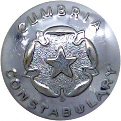 Cumbria Constabulary (Rose Centre) 24mm - Post-1967  Chrome-plated Police or Prisons uniform button