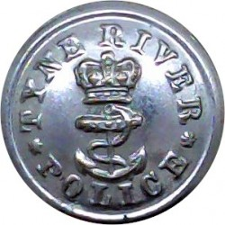 Tyne River Police 16.5mm with Queen Elizabeth's Crown. Chrome-plated Police or Prisons uniform button