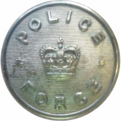 British Colonial Police - Crossed Truncheons 14mm - Flat Indented Queen's Crown. Chrome-plated Police or Prisons uniform button
