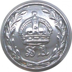 Australia: New South Wales Police 21mm Queen's Crown. Chrome-plated Police or Prisons uniform button