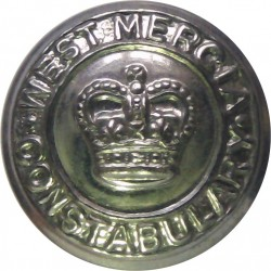 West Mercia Constabulary 17mm - Post-1967 with Queen Elizabeth's Crown. Chrome-plated Police or Prisons uniform button