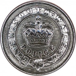 Australia: New South Wales Police 21mm with Queen Elizabeth's Crown. Chrome-plated Police or Prisons uniform button