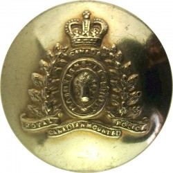 Canada: Royal Canadian Mounted Police 18.5mm - Gold Colour with Queen Elizabeth's Crown. Anodised Police or Prisons uniform butt